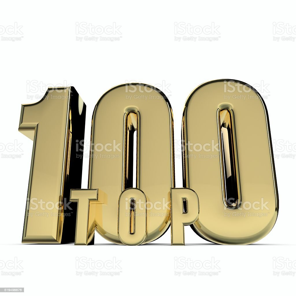 Gold top 100 sign stock photo