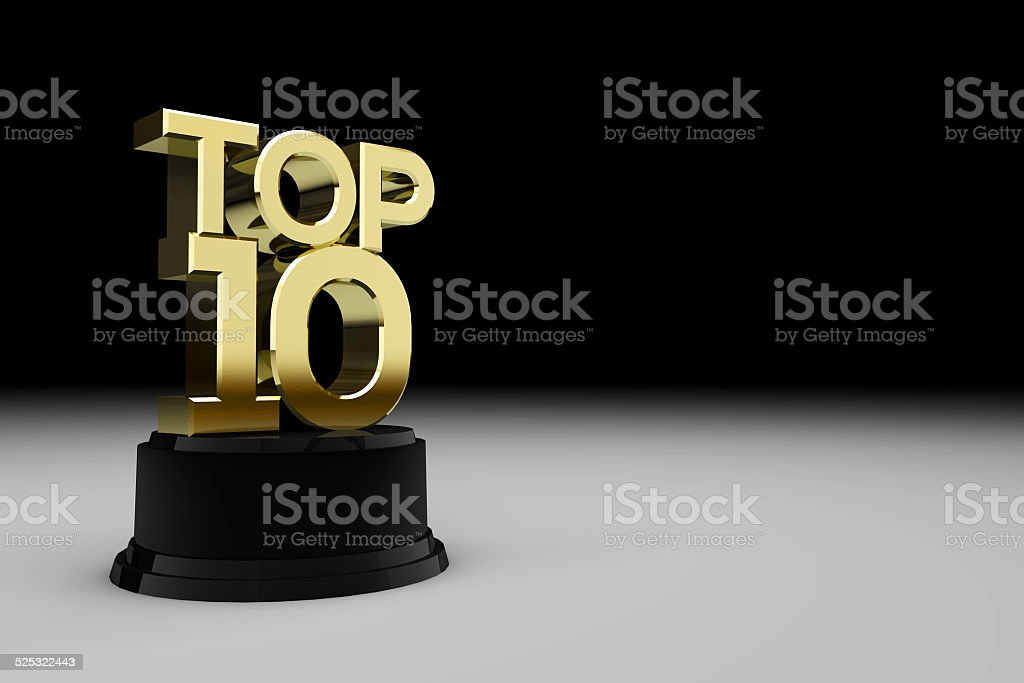 Gold top ten trophy stock photo