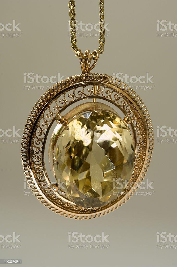 gold topaz pendant royalty-free stock photo