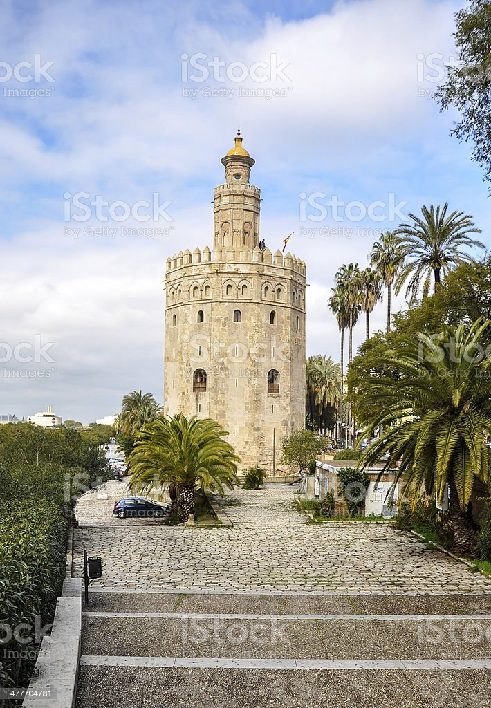 Gold Tower, a dodecagonal military watchtower in Seville (Spain) stock photo