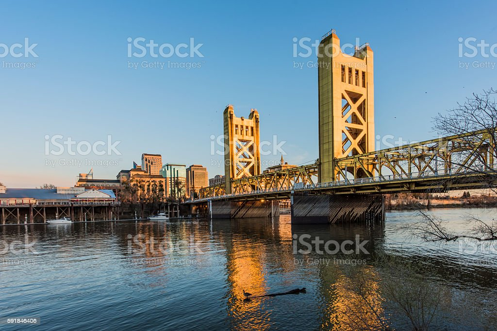 Gold Tower Bridge in Sacramento, California stock photo