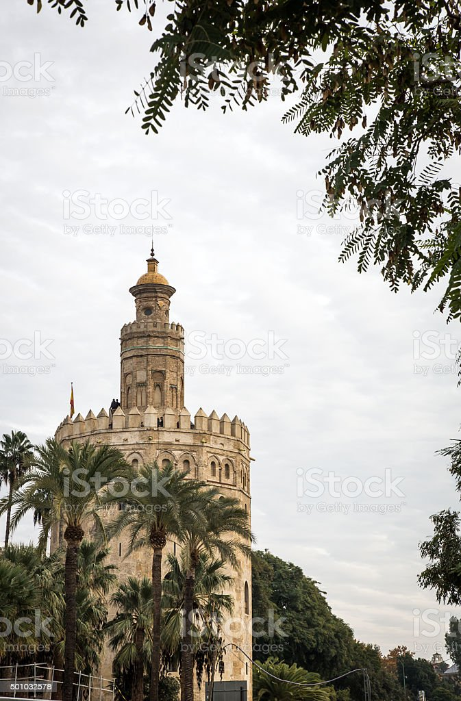 Gold Tower in Seville Andalucia Spain stock photo