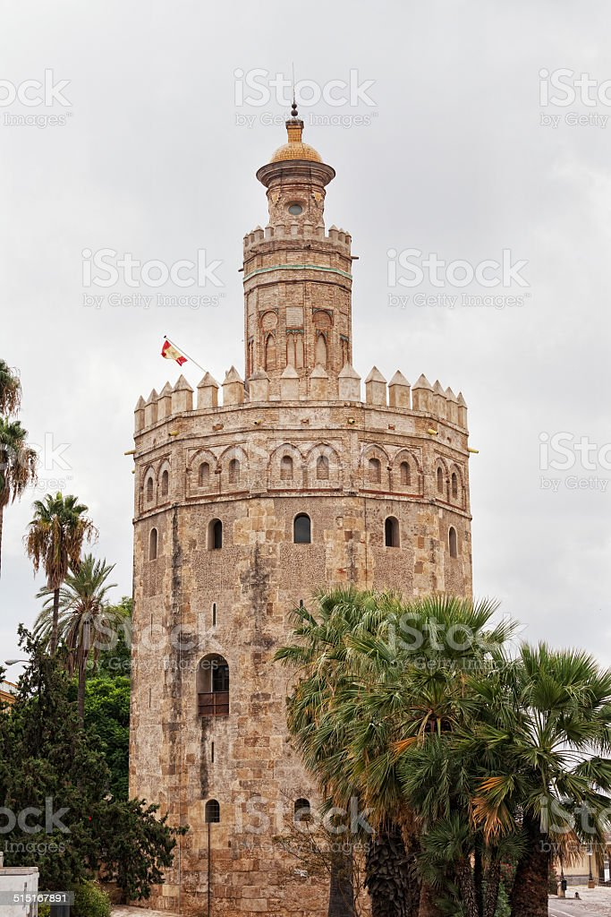 Gold tower in Seville, Spain stock photo