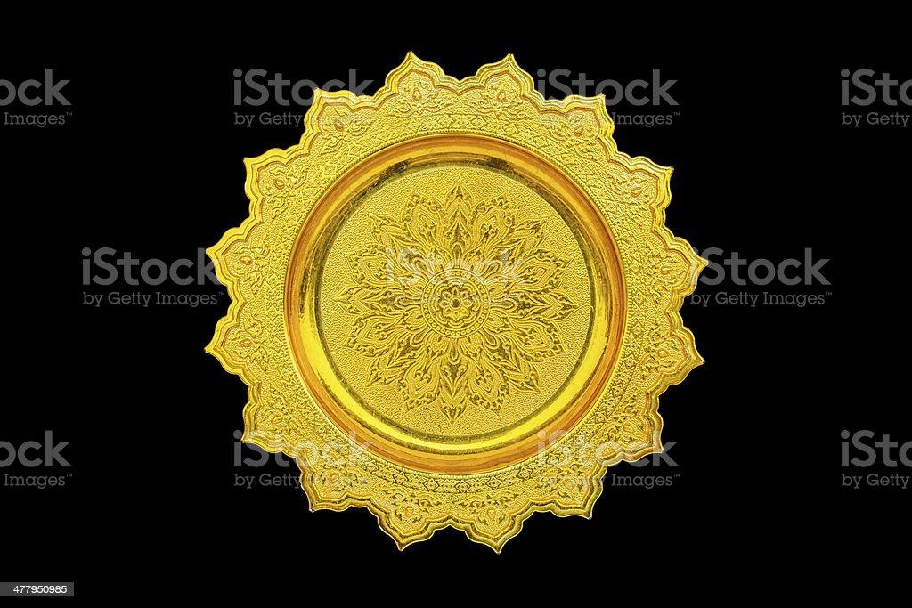 Goldenes Tablett mit Sockel Lizenzfreies stock-foto