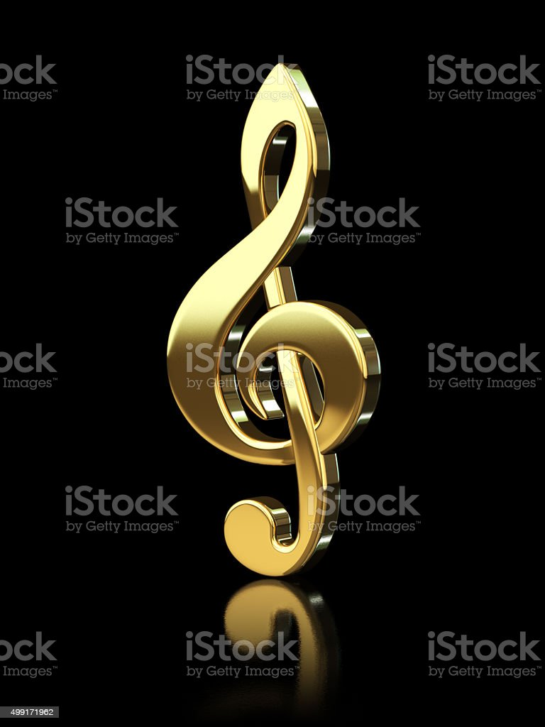 Gold Treble Clef stock photo