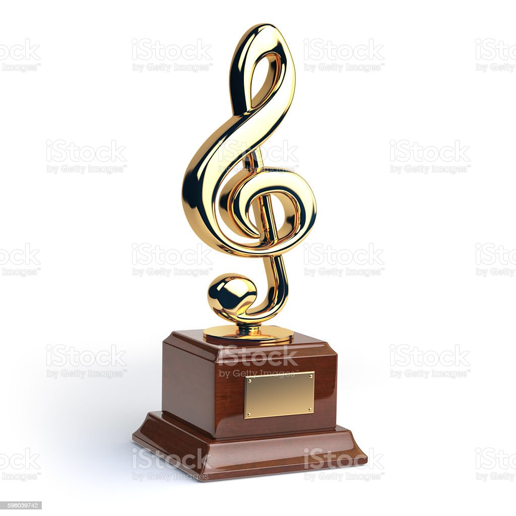 Gold treble clef s trophy isolated on white. Music award stock photo