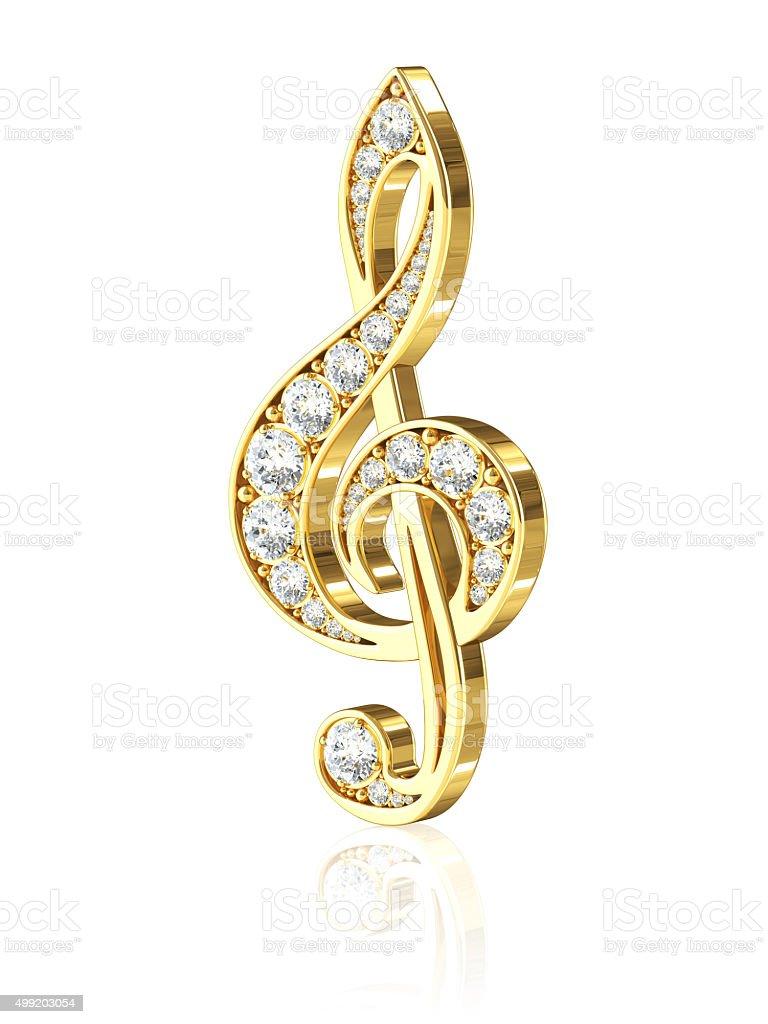 Gold Treble Clef With Diamonds stock photo