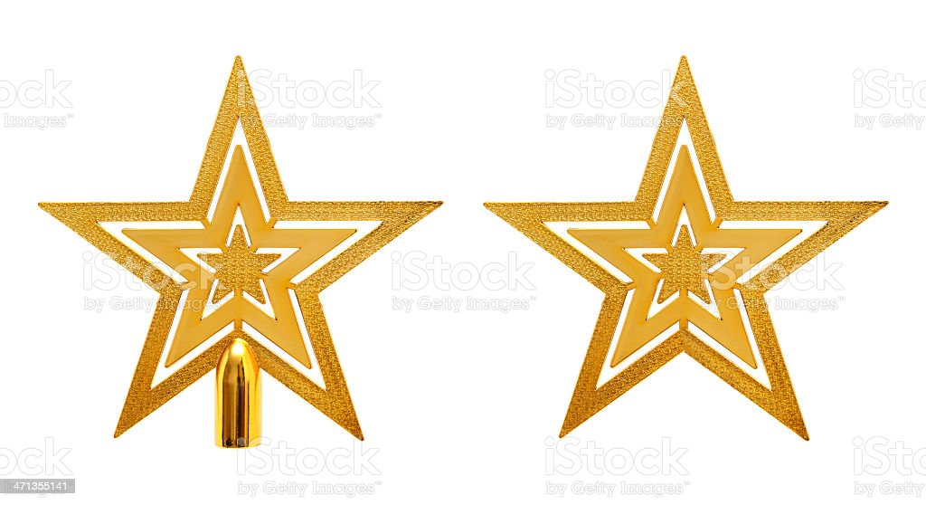 Gold tree topper and star isolated on white background stock photo