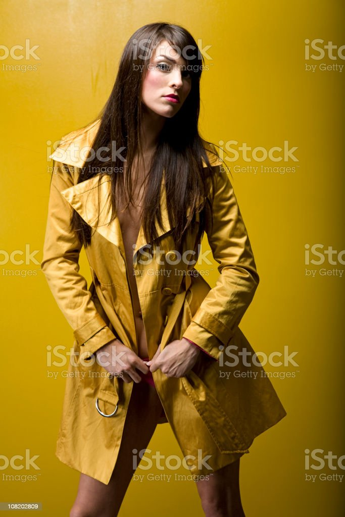 Gold Trench Coat stock photo