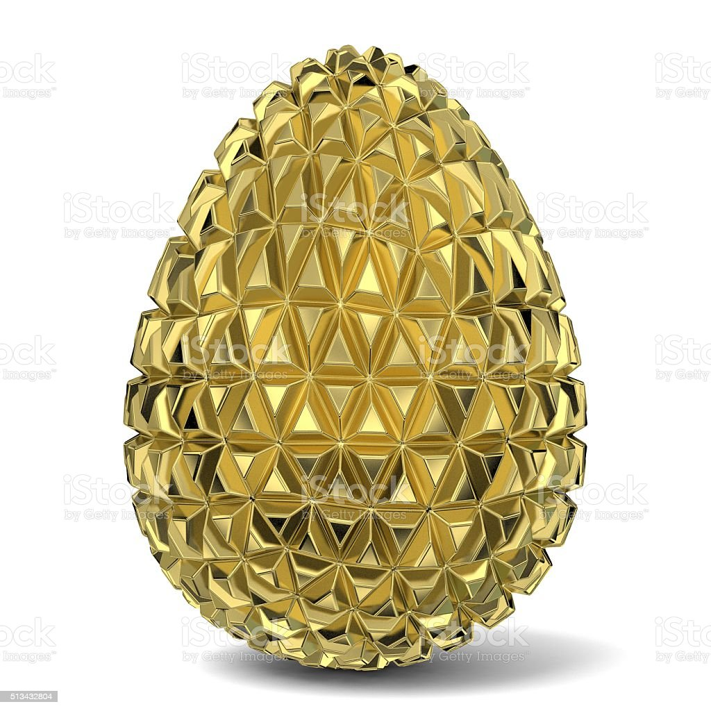 Gold triangulated egg ornament. 3D stock photo