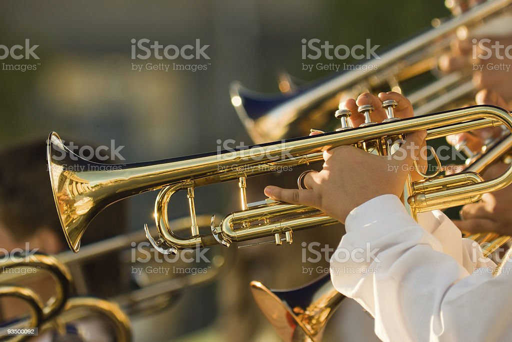 gold trombones on the concert stock photo