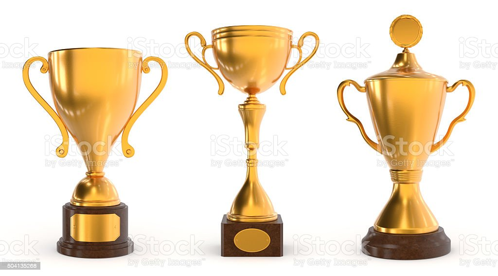 Gold trophies stock photo