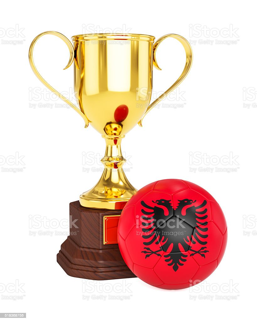 Gold trophy cup and soccer football ball with Albania flag stock photo