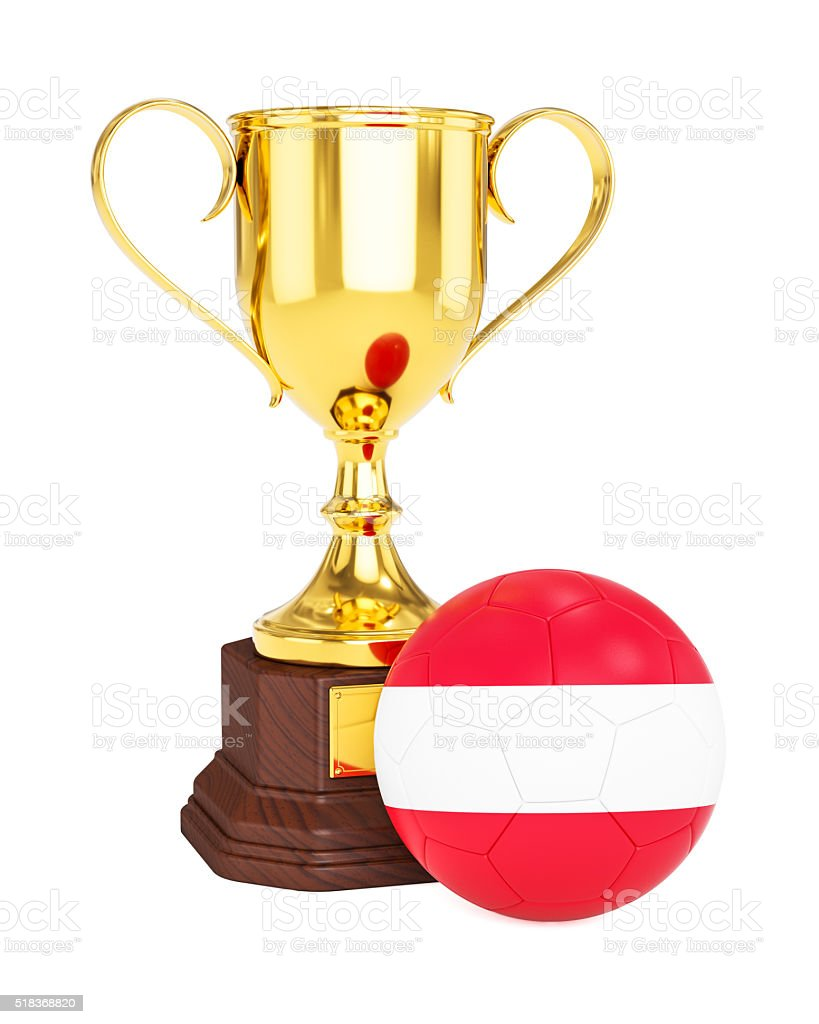 Gold trophy cup and soccer football ball with Austria flag stock photo