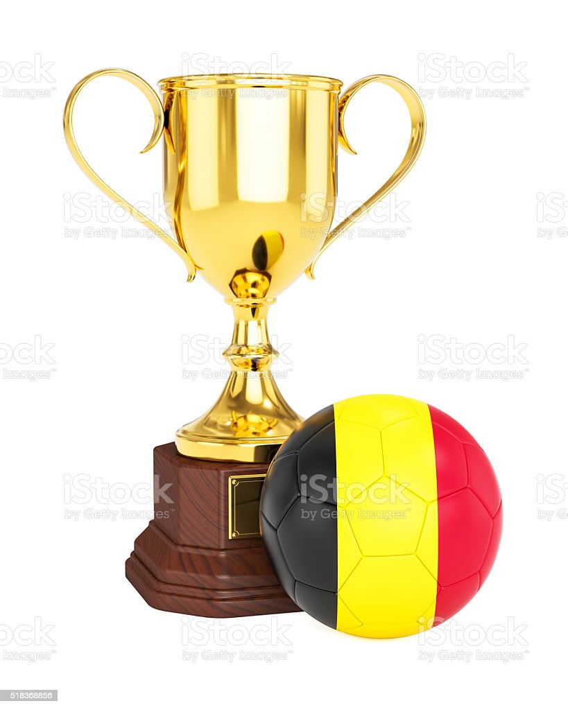 Gold trophy cup and soccer football ball with Belgium flag stock photo