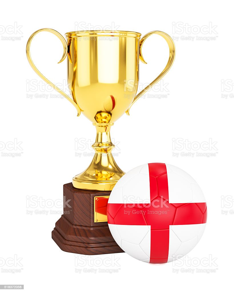 Gold trophy cup and soccer football ball with England flag stock photo