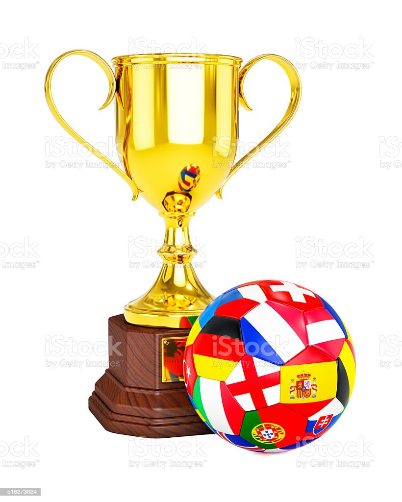 Gold trophy cup and soccer football ball with Europe flags stock photo
