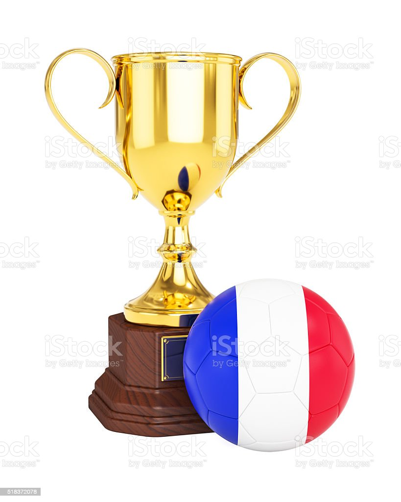 Gold trophy cup and soccer football ball with France flag stock photo