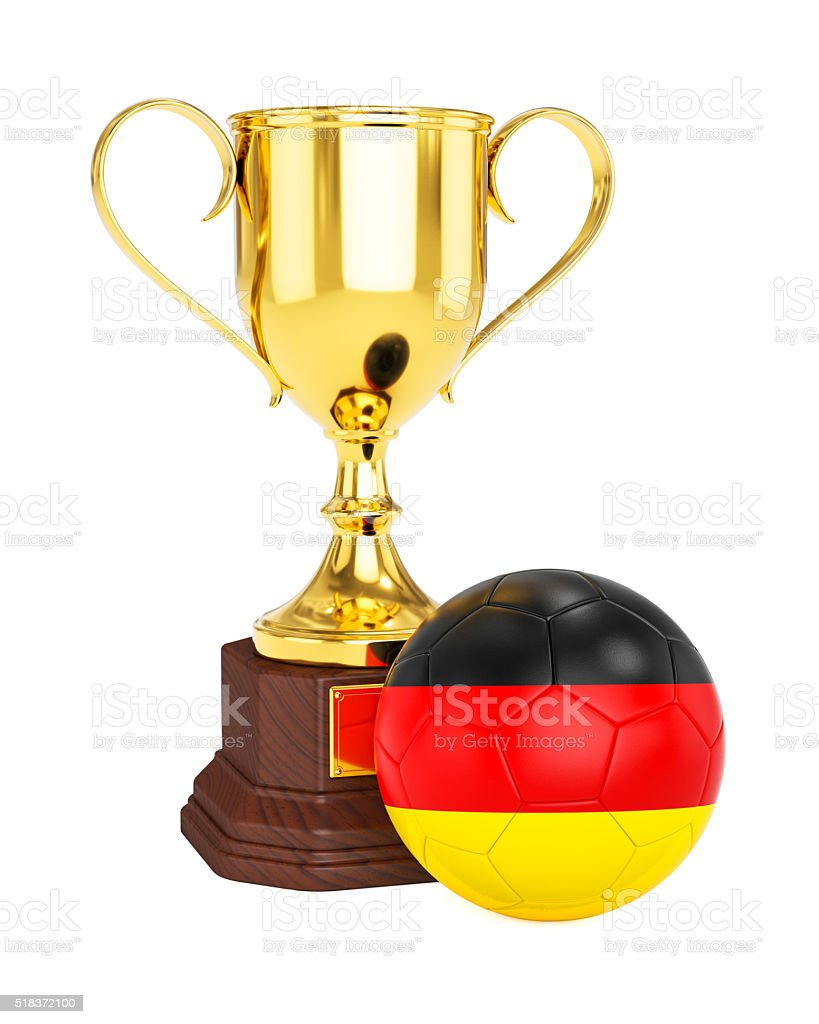 Gold trophy cup and soccer football ball with Germany flag stock photo