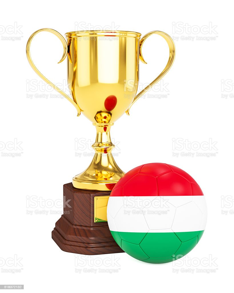 Gold trophy cup and soccer football ball with Hungary flag stock photo