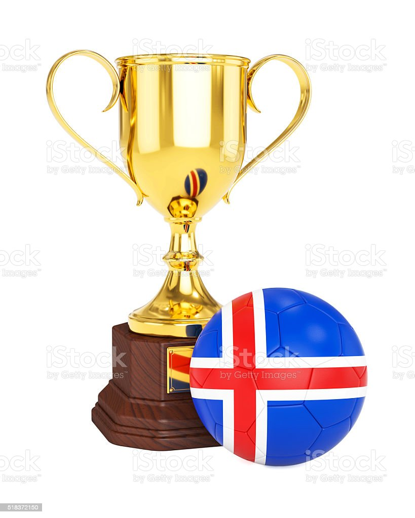 Gold trophy cup and soccer football ball with Iceland flag stock photo