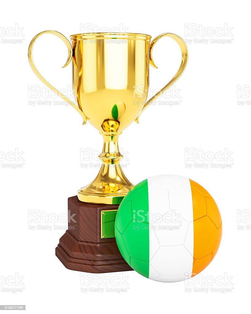Gold trophy cup and soccer football ball with Ireland flag stock photo