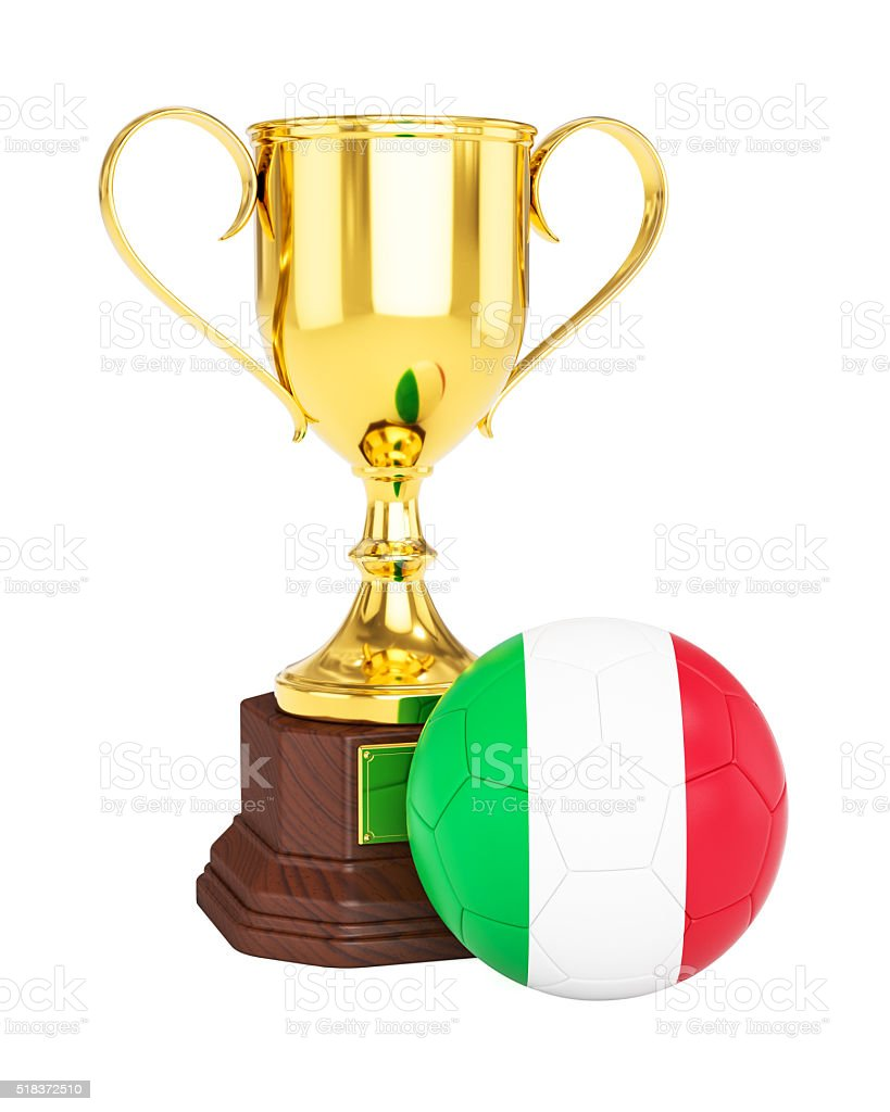 Gold trophy cup and soccer football ball with Italy flag stock photo
