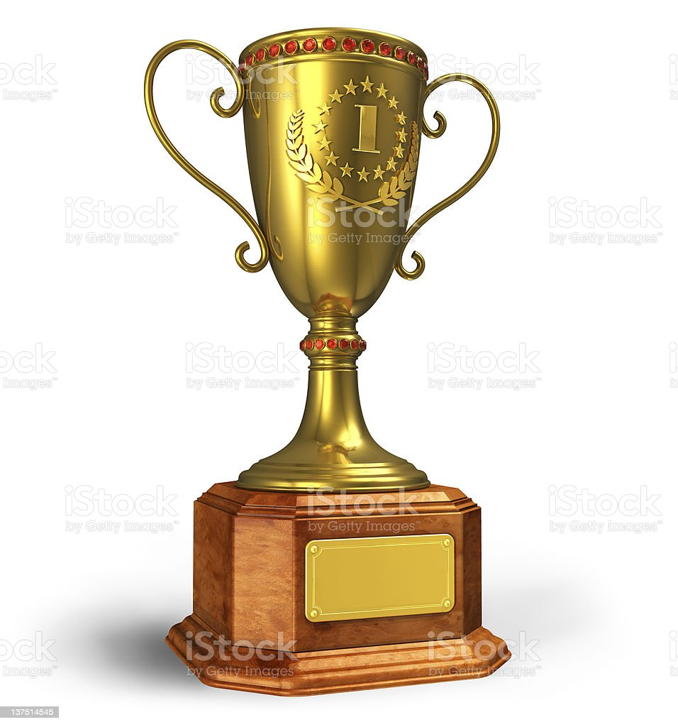 Gold trophy cup stock photo