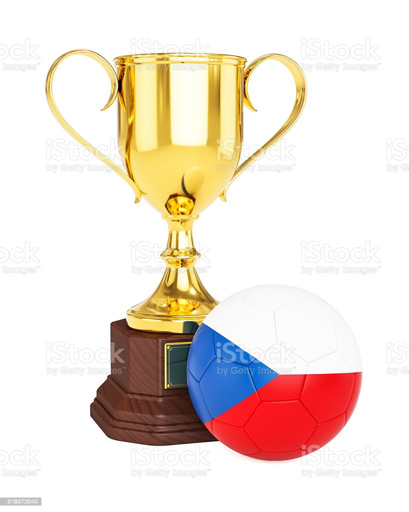 Gold trophy cup soccer football ball with Czech Republic flag stock photo
