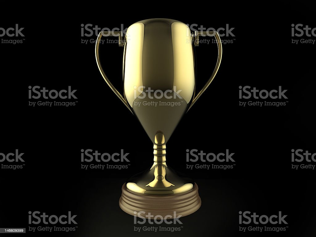 Gold trophy on black background stock photo