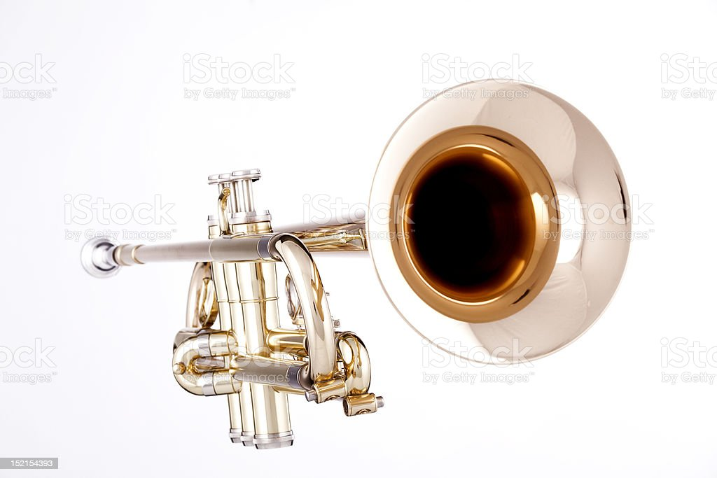 Gold Trumpet Isolated On White royalty-free stock photo