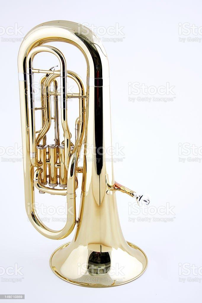 Gold Tuba Isolated on White Background stock photo