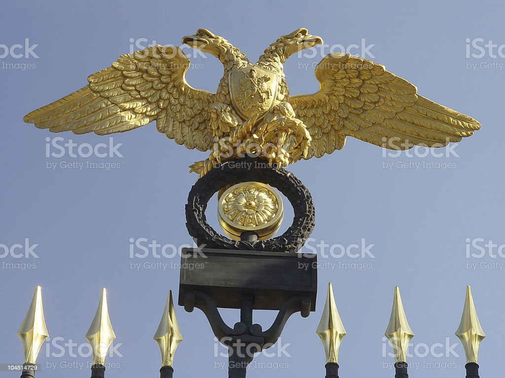 gold two-headed eagles royalty-free stock photo