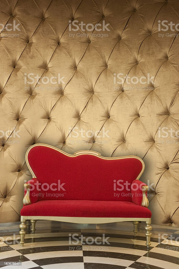 Gold Velvet and Armchair royalty-free stock photo