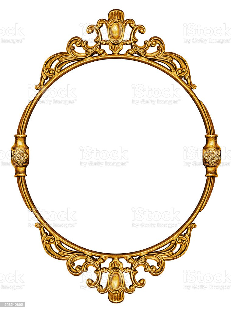 Gold vintage frame isolated on white stock photo