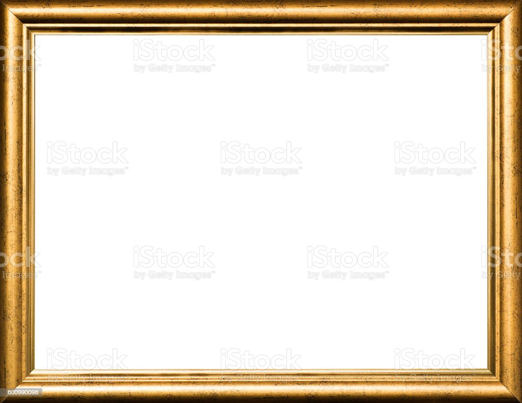 Gold vintage wooden picture frame stock photo