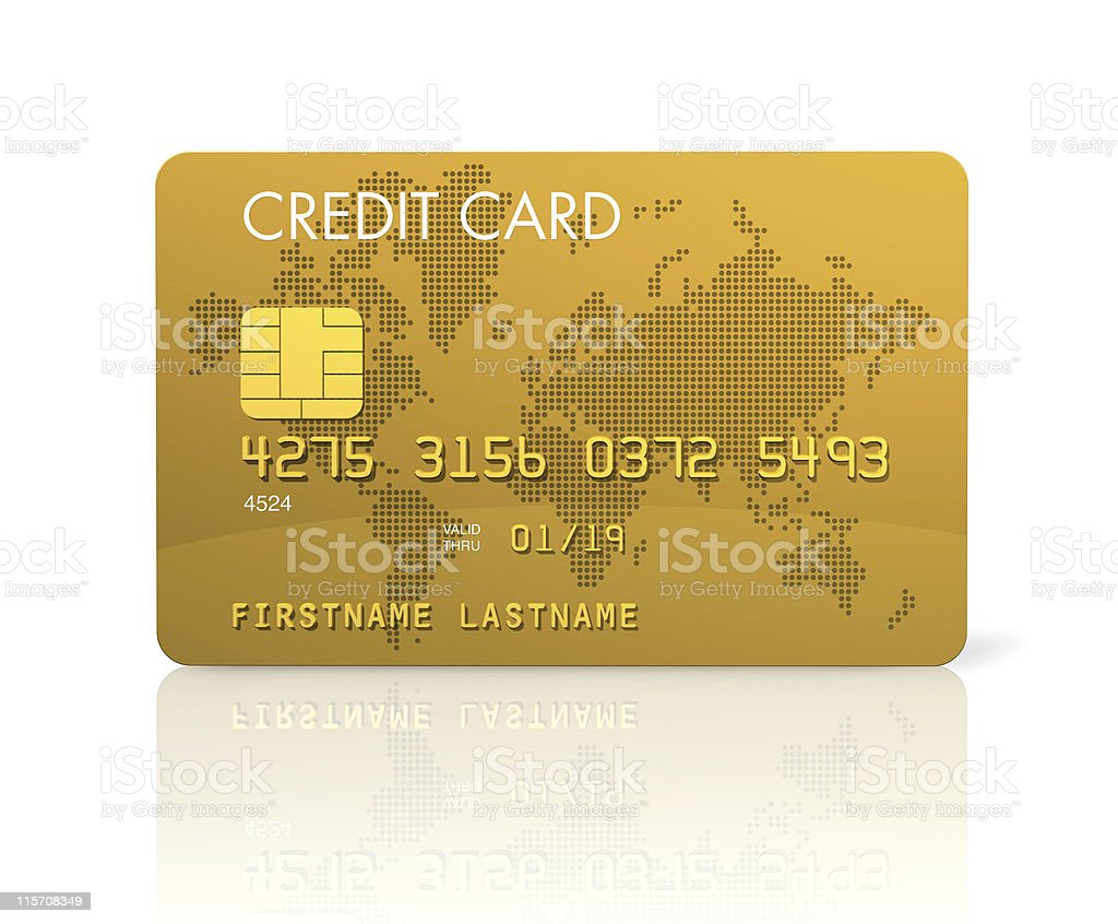 Gold Visa card template from advertisement stock photo