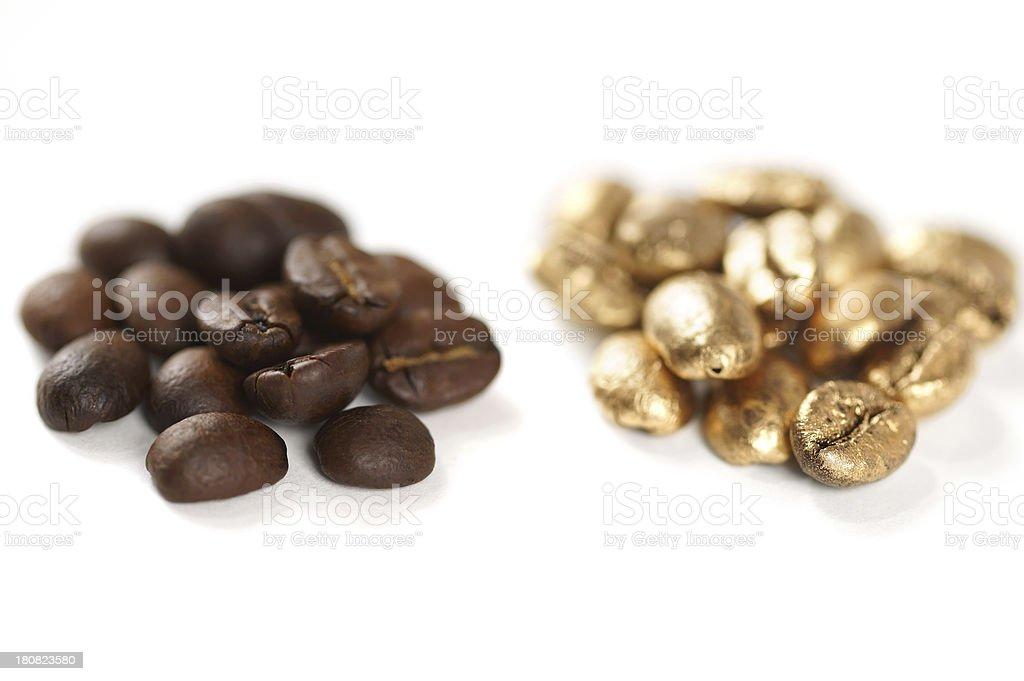 Gold Vs Regular Coffee Beans stock photo