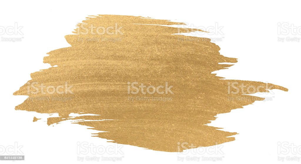 Gold watercolor texture paint stain shining brush stroke stock photo
