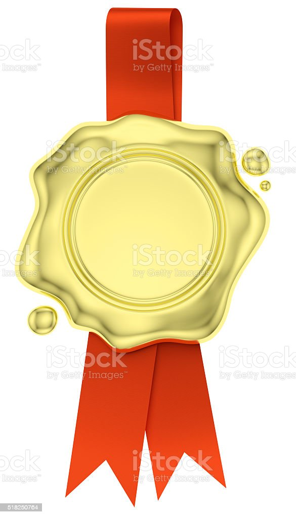 Gold wax seal hang on red ribbon isolated on white stock photo