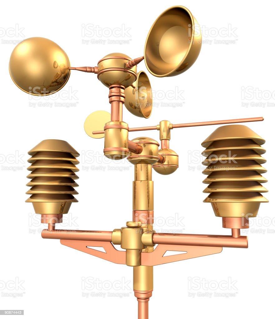gold weatherstation anemometer ( meteorology equipment ) royalty-free stock photo