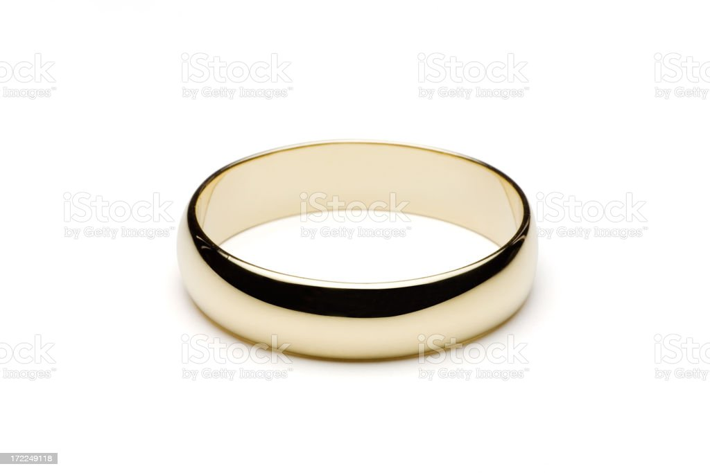Gold Wedding Ring Isolated on White (Clipping Path) stock photo