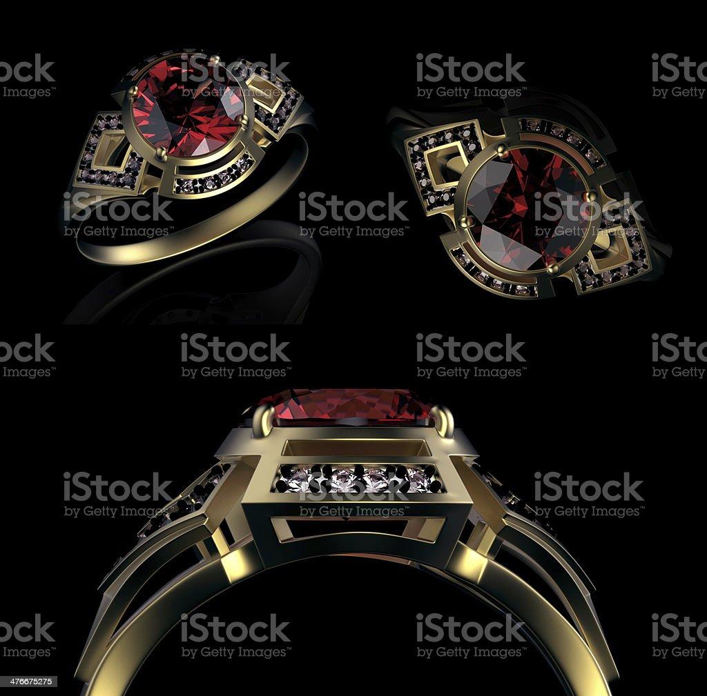 Gold Wedding Ring with diamond. Holiday symbol stock photo