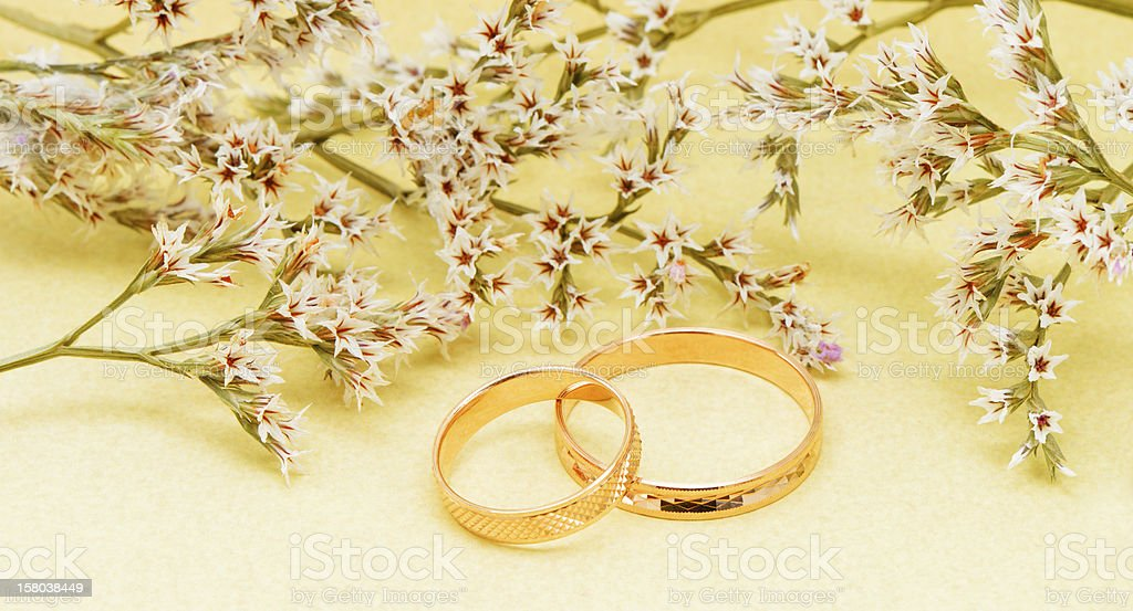 Gold wedding rings and branch flowers royalty-free stock photo
