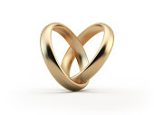 Gold Wedding Rings Forming A Heart Shape