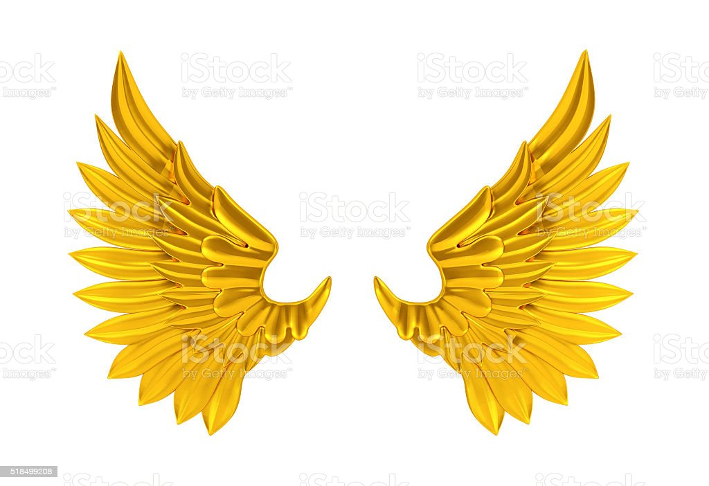 Gold wings isolated stock photo
