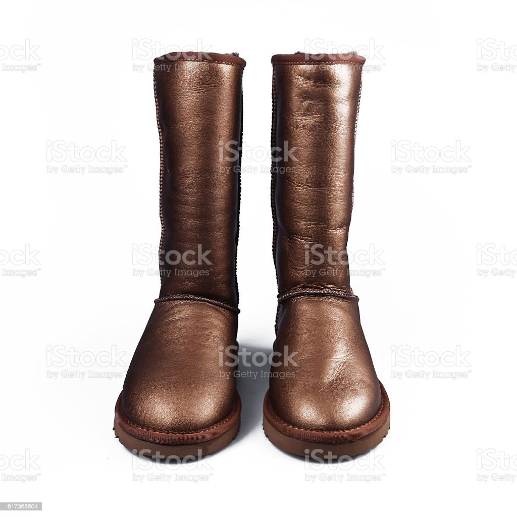 gold winter shoes stock photo