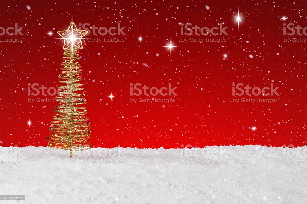Gold wire tree Christmas ornament stock photo