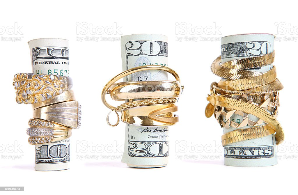 Gold wrapped Money stock photo