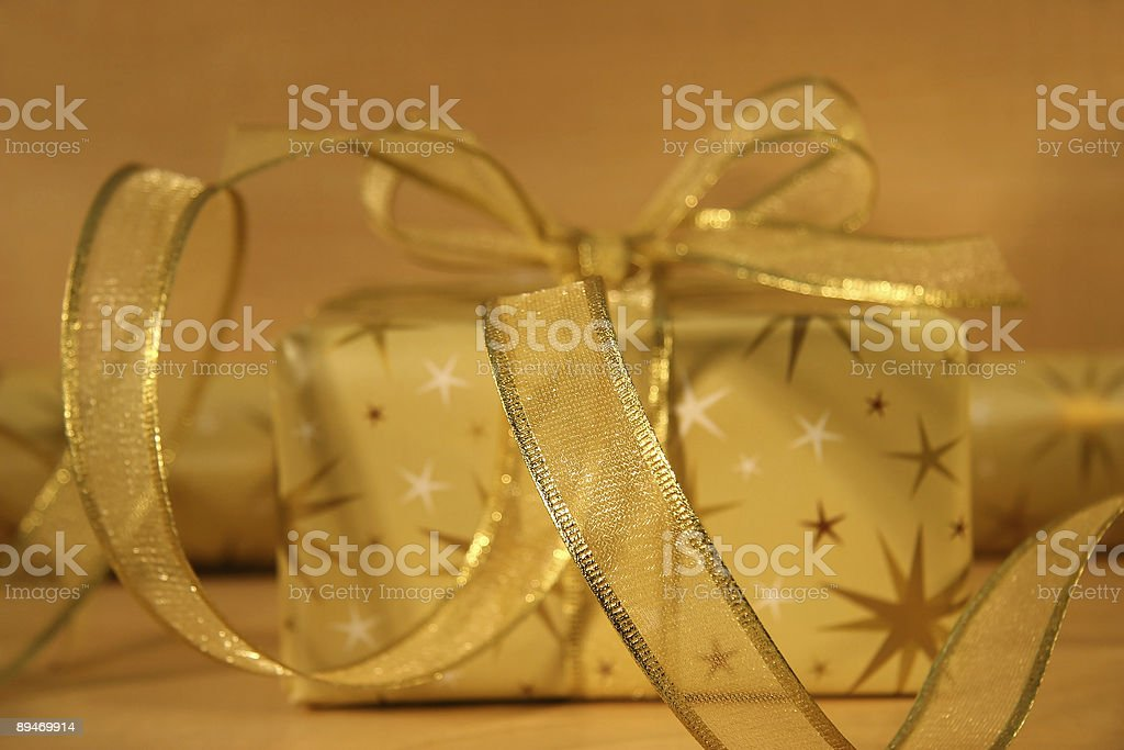 Gold wrappings stock photo
